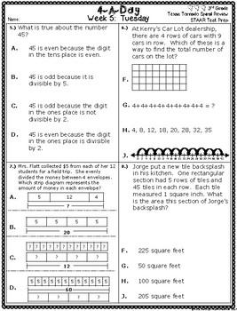 4 A Day STAAR Test Prep-Week 5 -3rd Grade Texas Tornado Spiral Review Supplement