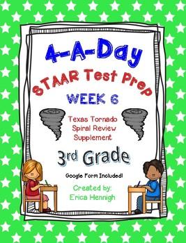 4 A Day STAAR Test Prep-Week 6 -3rd Grade Texas Tornado Spiral Review Supplement
