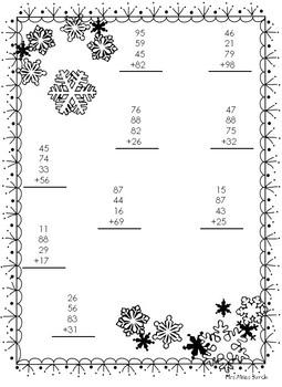 4 Addend Addition Snowflake Theme FREEBIE