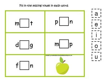 4 Apples themed CVC Games.  Printable Preschool Game