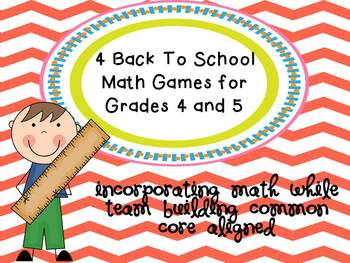4 Back To School Math Games for 4th & 5th Grade Math While Team Building CCSS