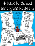 4 Back to School Emergent Readers - Manners, Listening, Lunchroom, Talking