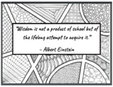 4 Back to School Quotes w/ Zentangles to Color - Einstein,