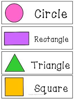 4 Basic Shapes Bundle ( Circle, Triangle, Square, Rectangle)