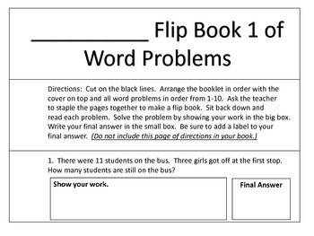 Addition and Subtraction Word Problem Flip Books
