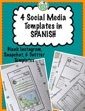 4 Blank Social Media Templates in Spanish Instagram Twitter Snapchat