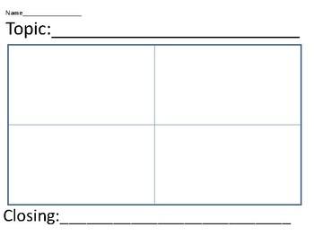 4 Block Writing Template