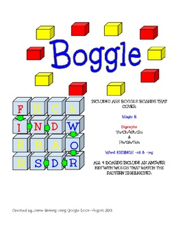 4 Boggle Board featuring Magic E, Digraphs, and Word Endings with Answer Key