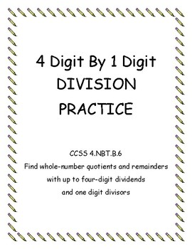 4 By 1 Digit Division Practice