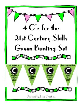 4 C's for the 21st Century Skills Green Bunting Set