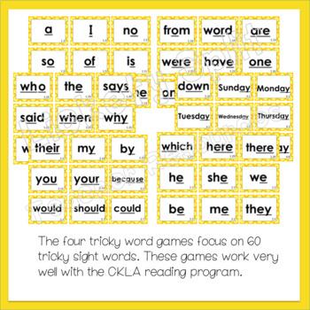 4 Tricky Words Literacy Center Games - Great w/ CKLA