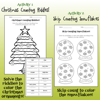 4 Christmas Themed Math Activities-Place Value, Skip Counting, Ordering & More!