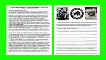 4 Civil Rights Primary Source w/ guiding questions (2 MLKJ, 2 Black Panthers)