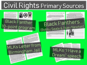 4 Civil Rights Primary Source w/ guiding questions (2 MLKJ