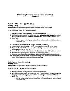 !4 Collecting Lessons to Generate Ideas for Writing