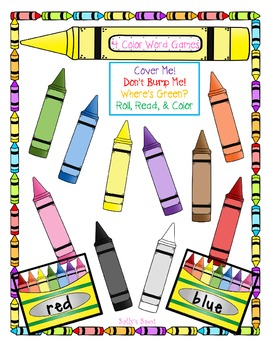 4 Color Word Games  Cover Me! Don't Bump Me!  Where's Green? Roll, Read, & Color