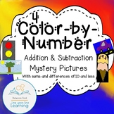 4 Color-by-Number Addition and Subtraction Mystery Pictures