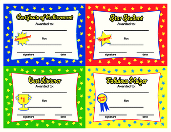 4 Colorful Awards for Kids Printable on 1page