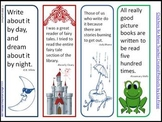 4 Colorful Bookmarks to Print & Cut w/Quotes from Children's Authors