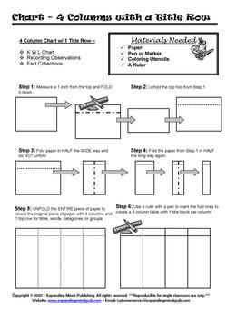 4 Column Single Top Row Table Foldable Graphic Organizer