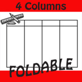 4 Column Single Top Row Table Foldable Graphic Organizer