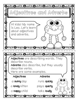 4 Mini-books: Adjectives & Adverbs, Collective Nouns, Compound Words, Verbs