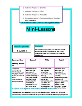 4 Common Core minilessons on Author's Purpose w-exit slip and more