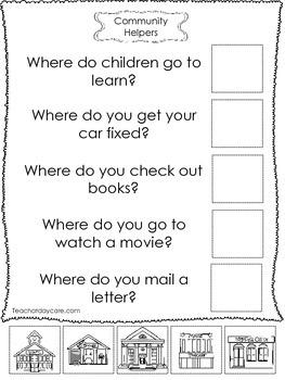 4-Community Helpers Answer the Question Worksheets. Preschool-Kindergarten.