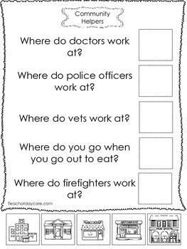 4-Community Helpers Answer the Question Worksheets  Preschool-Kindergarten