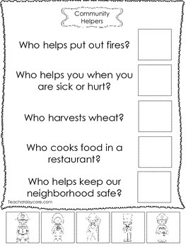 4-Community Helpers Answer the Question Worksheets. Presch