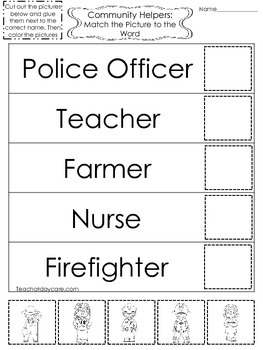 4-Community Helpers Match the Picture to the Word Worksheets.