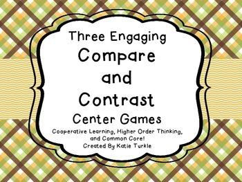 Compare and Contrast Common Core Center Games 4 Test Prep! Common Core