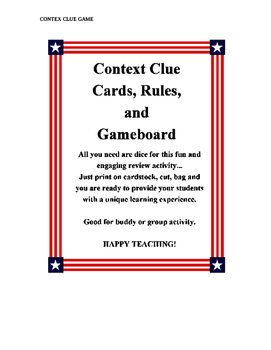4 Context Clue Cards, Rules, and Gameboard