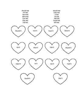 4 Contraction Worksheets using Not