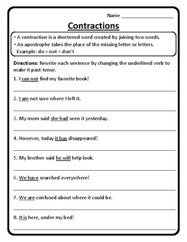 Contractions in Sentences Worksheet Contractions Worksheet ...