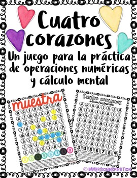 4 Corazónes - Fact Fluency Game in Spanish