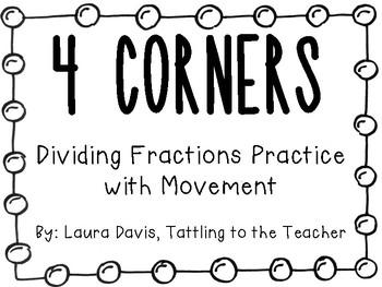 4 Corners: Dividing Fractions Movement Activity