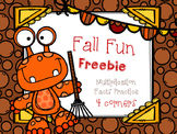 4 Corners Fall Themed Multiplication Game  FREEBIE