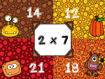 4 Corners Fall Themed Multiplication Game  FREEBIE