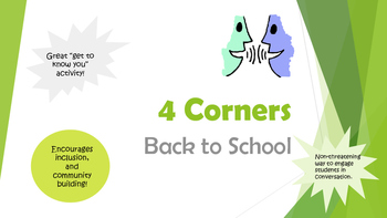 4 Corners Icebreaker/ Back to School Activity