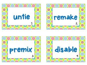 4 Corners- Prefix- Pre, Re, Dis, Un