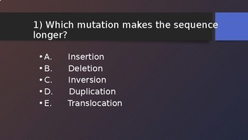 4 Corners Review Game: Mutations