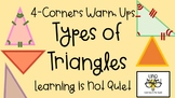 4-Corners Types of Triangles (Acute, Scalene, Obtuse, Equilateral) No Prep, Easy