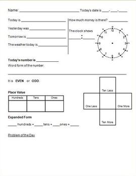 4 Daily Work Morning Math Answer Sheets K-2nd