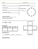 4 Daily Work Morning Math Answer Sheets K-2nd