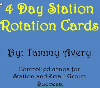 "4 Day ""Controlled Chaos"" Station Rotation Cards"