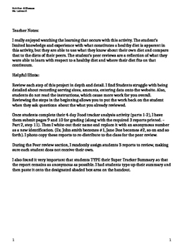 4 day food tracker nutrition peer diet review tpt