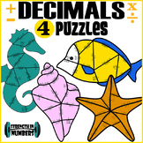 4 Decimal Operations Cooperative Puzzles to make a Sea Life Bulletin Board