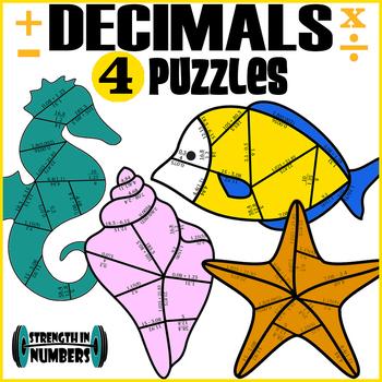 4 Decimal Operations Cooperative Puzzles to make a Sea Life Bulletin Board
