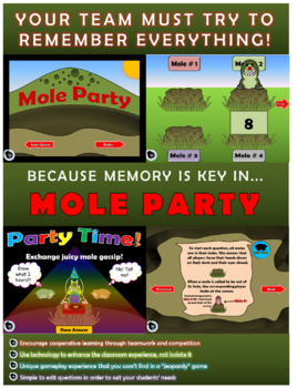 4 Dig Addition NO REGROUP Cooperative Learning Game | Mole Party – EDITABLE
